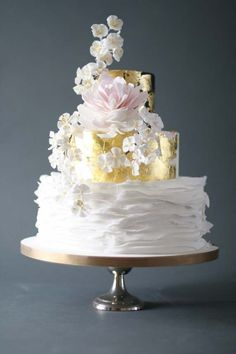 Japanese Screen Inspired Ruffled Wedding Cake