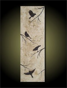 Four Birds Contemporary Textured Painting