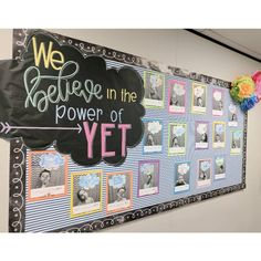 "Another pinner said, ""The highlight of my week was doing a formal lesson on The power of Yet!🤗 Hearing my kids now add the word 'yet' to the end of so many of… Bulletin Board Display, Classroom Bulletin Boards, Classroom Community, Classroom Displays, School Classroom, Classroom Organization, Classroom Decor, Future Classroom, Holiday Classrooms"