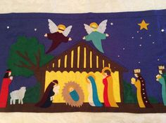 NATIVITY SCENE WALLHANGING Stable Wise Men Manger by MarysVision
