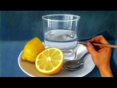 Still Life Drawing Realism - lemon / spoon / glass of water - Excuse my stick figure and jellyfish...
