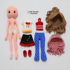 Mindy The Dress Up Doll amigurumi pattern by Little Bamboo Handmade Crochet Dolls Free Patterns, Crochet Doll Pattern, Amigurumi Patterns, Doll Patterns, Pattern Sewing, Pants Pattern, Dress Patterns, Crochet Doll Dress, Crochet Doll Clothes