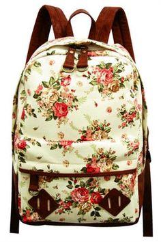 Floral Print Backpack - Light Beige