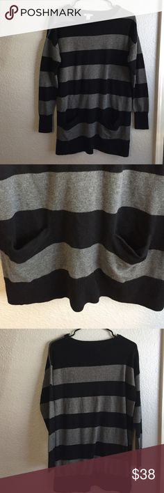 Nordy's striped sweater Black and gray striped sweater. Super comfortable and in perfect condition! Has to front slit pockets. 53% cotton 50% rayon 7% nylon Caslon Sweaters Crew & Scoop Necks