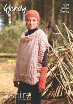 Buy+Cable+Poncho,+Fingerless+Mitts+and+Headband+in+Wendy+Aspire+Chunky+(5824)+Online+at+www.sewandso.co.uk