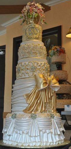 elegant vintage blue gold white monogrammed multi-shape wedding cake . weddingwire.com