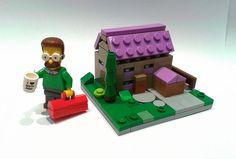 Lego Mocs Micro ~ Casa de Flanders | by Shannon Ocean Lego Simpsons, Lego Building Blocks, Lego Creations, Miniture Things, Legos, Toys, Abandoned, Opal, Home
