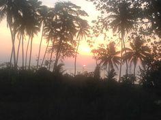 Sun setting in Eratap, Vanuatu, coconut palms are everywhere, right to the waters edge