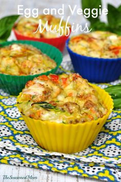 "Egg and Veggie Muffins: Full of satisfying protein and healthy veggies, these ""muffins"" are a delicious way to keep you going throughout the day. Plus, they are a great freezer meal to keep on hand for your busiest mornings!"