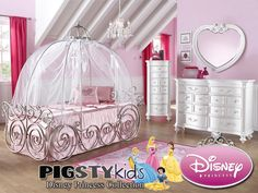 Disney Princess Carriage Full Bed - Girls Room Furniture - My Pigsty