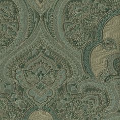 Huntington House  accent pillow - damask green blue grey beige