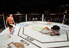 Alexander Gustafsson celebrates his knockout victory over Glover Teixeira in their light heavyweight fight during the UFC Fight Night event at the Ericsson Globe Arena on May 28, 2017 in Stockholm, Sweden.