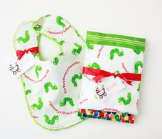 Burp the Baby Very Hungry Caterpillar Set by BundleBaby on Etsy, $30.00