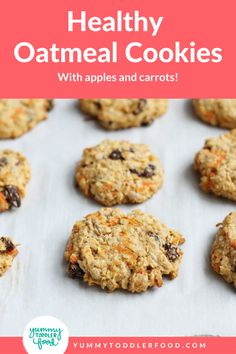 Chewy Vegan Oatmeal Cookies Recipe! These easy Healthy Oatmeal Cookies are packed with apples, carrots, and raisins—but are allergy-friendly and vegan too. They're a deliciously healthy dessert! Great for kids and toddlers love these too! #OatmealCookies #AppleCookies #CookieRecipes #ToddlerCookies Cookie Recipes For Kids, Healthy Cookie Recipes, Egg Recipes For Breakfast, Apple Recipes, Snack Recipes, Kid Recipes, Veggie Recipes, Breakfast Ideas, Healthy Oatmeal Cookies