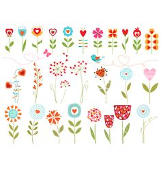 Floral hearts vector 1132217 - by fireflamenco on VectorStock®