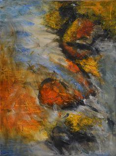 "Abstraktes Acrylbild ""Höhlenmalerei"". - Größe: 60x80 cm --- www.elfensteins-acrylmalerei.de"