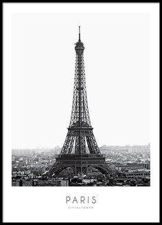 Poster with a photograph of the Eiffel Tower.