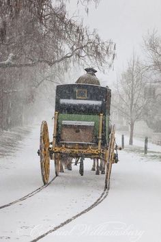 ***** Driving the Carter Coach in a snow storm at Colonial Williamsburg. Photo by David M. Doody Copyright 2013 The Colonial Williamsburg Foundation Winter Szenen, I Love Winter, Winter Magic, Winter White, Winter Christmas, Magical Christmas, Christmas Scenery, Christmas Carol, I Love Snow