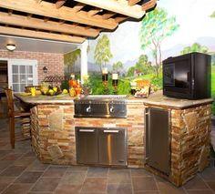 Outdoor kitchens make cooking al fresco a thing of pleasure Backyard Kitchen, Backyard Bbq, Backyard Ideas, Outdoor Spaces, Outdoor Living, Outdoor Decor, Outdoor Kitchens, Fresco, Outside Grill