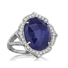 18K white gold ring with rose cut sapphire and diamonds