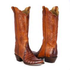 GB9995.54 WOMEN'S COGNAC CAIMAN CROCODILE BOOT - BOOTS LADIES BURNS COWBOY SHOP