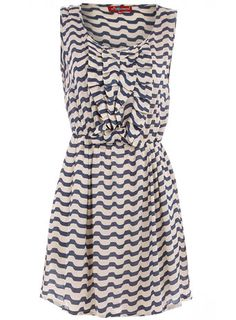 Dorothy Perkins | Navy/cream stripe ruffle dress $44