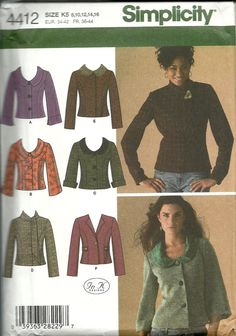 Simplicity 4412 Misses Jacket Pattern with by TudorHouseTreasures