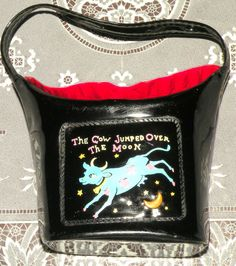 Vintage Little Girl's Purse The Cow Jumped Over The Moon Black Patent Leather Small Purse