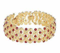 Jacqueline Kennedy Simulated Ruby Spangled Bracelet