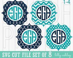 Monogram SVG Cut File Set includes 10 cutting files by LillyAshley
