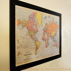 Diy travel map pin board less than 50 bucks for a giant wall map newlywed map framed mapsframed world sciox Images