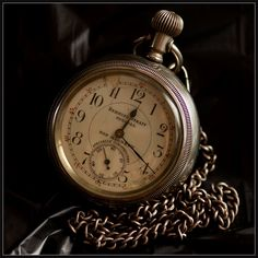 capture of my great grandfathers Behring Strait Special pocket watch sidelit by natural light.