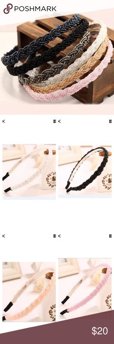 """Set of 6 Beaded Headbands NWOT!!  Set of 6 beaded headbands. Length: 15"""". Width: 1/2"""". Colors in set include:  light pink, white, light blue, dark gray, champagne and black.   Bundle discount available. No trades. Accessories Hair Accessories"""