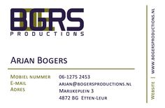 Bogers Productions, business card HUISSTIJL - Under Design