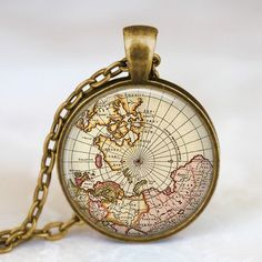 Vintage world map jewelry earth globe pendant  by starmekcreations, $14.00