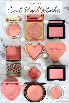 Top 10 Peachy Coral Blushes for Spring Top 10 Peachy Coral Blushes for Spring – Perilously Pale - Das schönste Make-up Blush Makeup, Makeup Kit, Eyeshadow Makeup, Makeup Cosmetics, Makeup For Pale Skin, Coral Makeup, Makeup Ideas, Pink Eyeshadow, Eyeshadow Palette