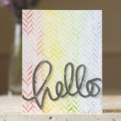 Rainbow Hello by Lucy Abrams for the Simon Says Stamp Blog using Simon Says stamps Big Hello and Hero Arts.  August 2014