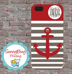 striped anchor phone case