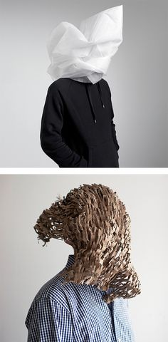 Creative Portraits by Sebastian Schramm. Place objects to obscure your face, packaging etc..