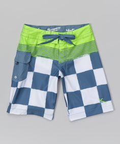 Look what I found on #zulily! Lost Green & Navy Checkerboard Boardshorts - Boys by Lost #zulilyfinds