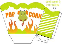 DEMI_PANIER Printable Box, Templates Printable Free, Free Printables, Box Templates, Popcorn Holder, Dragon Party, Free Boxes, Paper Models, Favor Boxes