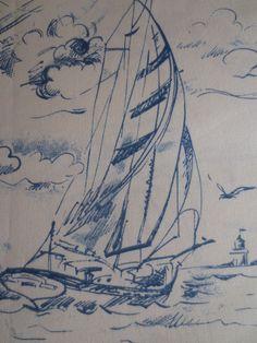 Pillow Cover Blue Nautical Sailboat Print. $18.00, via Etsy.