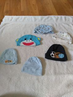 Mixed Lot Of 6 Infant Baby Boy Hats Sizes 0-9 Months #MixedBrands
