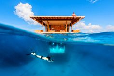 The Underwater Room is just what it sounds like: a hotel room that's submerged in the clear blue ocean. hotel in Pemba, Zanzibar - The Manta Resort - The Underwater Room Under The Water, Hotel Subaquático, Hotel Suites, Hotel Stay, Hotel Lobby, Hotel Deals, Dream Vacations, Vacation Spots, Vacation Ideas