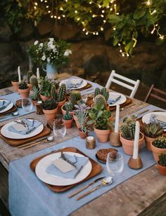free-spirited boho succulent cactus table runner