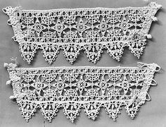 Cuff (one of pair)    Date:      16th century  Culture:      Italian  Dimensions:      L. 11 x W. 4 inches 27.9 x 10.2 cm  Classification:      Textiles-Laces-Bobbin  Credit Line:      Gift of Mrs. Edward S. Harkness, 1930  Accession Number:      30.135.150b