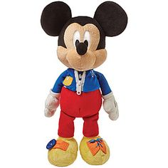 Plush stuffed Mickey teaches dressing skills with button, zipper and tie. A variety of textures and crinkly ears add extra appeal.