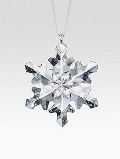 Swarovski - 2012 Little Snowflake Crystal Ornament Swarovski Snowflake, Snowflake Ornaments, Snowflakes, Christmas Ornaments, Little Snowflake, Blue Christmas, White Ribbon, Ceiling Lights, Crystals