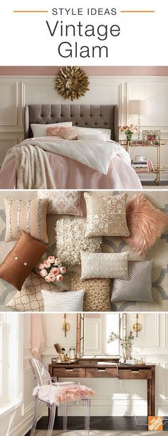 A vintage glam-inspired home has a rustic spirit and a taste for the finer things in life. Chic decor and dreamy hues of pink create a romantic look that's sophisticated. Plenty of oversized pillows and mixed textures help the space feel cozy and inviting. Click to shop everything you see here and explore more inspiring styles in our latest catalog.