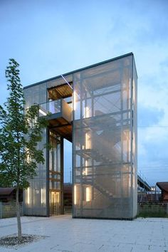 Industrial Architecture, Minimalist Architecture, Concept Architecture, Architecture Details, Modern Architecture, Green Facade, Metal Facade, Elevator Design, Facade Design
